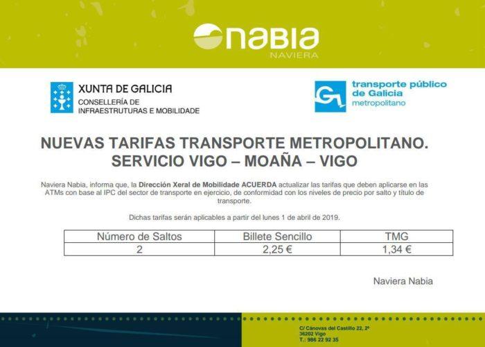Actualización tarifas Moaña-Vigo